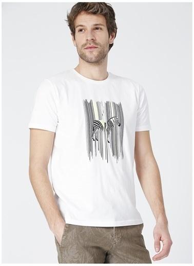 Limon Company Limon Anima Beyaz Bisiklet Yaka Zebra Baskılı Erkek T-Shirt Beyaz